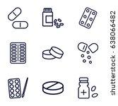 pill icons set. set of 9 pill... | Shutterstock .eps vector #638066482