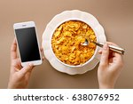 woman texting and eating... | Shutterstock . vector #638076952