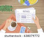 man reading the latest news at... | Shutterstock . vector #638079772