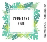 tropical leafs. invitation ... | Shutterstock .eps vector #638083042