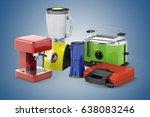 3d set of home appliances on... | Shutterstock . vector #638083246