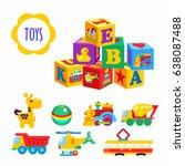 set of vector children's toys.... | Shutterstock .eps vector #638087488
