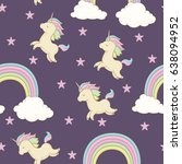 unicorn with rainbow mane ... | Shutterstock .eps vector #638094952