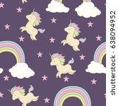unicorn with rainbow mane ... | Shutterstock .eps vector #638094952