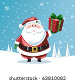 santa claus holding up a gift   Shutterstock .eps vector #63810082