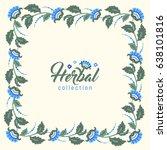 floral square vintage frame ... | Shutterstock .eps vector #638101816