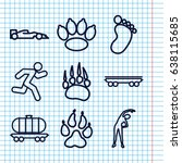 set of 9 track outline icons...   Shutterstock .eps vector #638115685