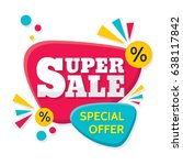 super sale   vector creative... | Shutterstock .eps vector #638117842