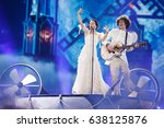 Small photo of KYIV, UKRAINE - MAY 10, 2017: Naviband of Belarus at ESC (EUROVISION) Eurovision Song Contest 2017 during Semi-Final dress rehearsal