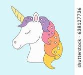 unicorn head sleeping cute in... | Shutterstock .eps vector #638127736