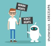 human rights vs robot rights  ... | Shutterstock .eps vector #638131696