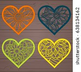 set stencil lacy hearts with... | Shutterstock .eps vector #638134162