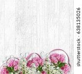 border of lilac and sakura on a ... | Shutterstock . vector #638135026