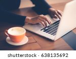 hand of woman working with her... | Shutterstock . vector #638135692