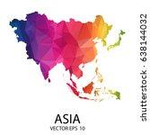 abstract polygon map   vector... | Shutterstock .eps vector #638144032