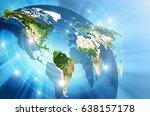 world map on a technological... | Shutterstock . vector #638157178