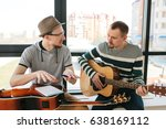 learning to play the guitar.... | Shutterstock . vector #638169112