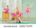 six gymnast in acrobatic pose... | Shutterstock . vector #638171395