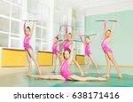 gymnast girls with  juggling... | Shutterstock . vector #638171416