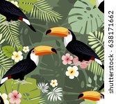 toucan seamless pattern  vector ... | Shutterstock .eps vector #638171662