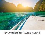 boat approach maya bay a... | Shutterstock . vector #638176546