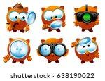 set of detective owl characters ... | Shutterstock .eps vector #638190022