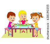 kids  boy and girls draw at the ... | Shutterstock .eps vector #638190355