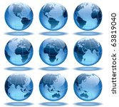 set of nine globes showing... | Shutterstock .eps vector #63819040