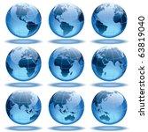 set of nine globes showing... | Shutterstock .eps vector #63819040