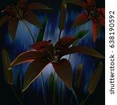 3d flowers  red lilies | Shutterstock . vector #638190592