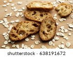 sliced bread and oat flakes on... | Shutterstock . vector #638191672