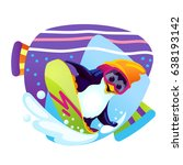 cartoon penguin snowboarder on... | Shutterstock .eps vector #638193142
