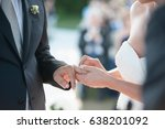 hands detail with wedding rings ... | Shutterstock . vector #638201092