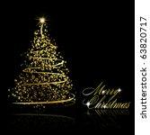 abstract golden christmas tree... | Shutterstock .eps vector #63820717