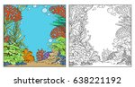 underwater world with corals ... | Shutterstock .eps vector #638221192