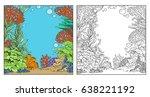 underwater world with corals ... | Shutterstock .eps vector #638221192
