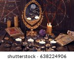 magic ritual with ancient runes ... | Shutterstock . vector #638224906