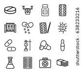 pharmacy icons set. set of 16... | Shutterstock .eps vector #638233216