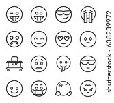 cheerful icons set. set of 16... | Shutterstock .eps vector #638239972