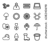 spring icons set. set of 16... | Shutterstock .eps vector #638240698