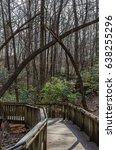 wooden walking bridge thru...   Shutterstock . vector #638255296
