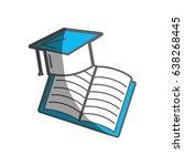 hat graduation with open... | Shutterstock .eps vector #638268445