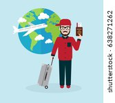 hipster with suitcase... | Shutterstock .eps vector #638271262