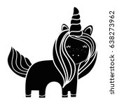 contour beautiful unicorn with... | Shutterstock .eps vector #638273962