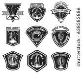 set of space labels. rocket... | Shutterstock .eps vector #638283886