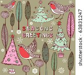 winter christmas forest with... | Shutterstock .eps vector #63831247