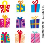 Set of gifts and elements for design - stock vector