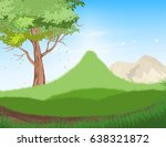 beautiful tree and forest scene ... | Shutterstock .eps vector #638321872