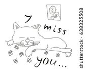 postcard i miss you. cat lying... | Shutterstock .eps vector #638325508