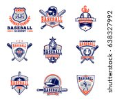 set of colored baseball badges ... | Shutterstock . vector #638327992